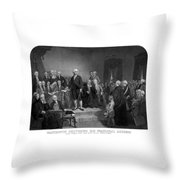 Washington Delivering His Inaugural Address Throw Pillow