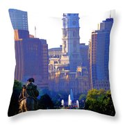 Washington Looking Over To City Hall Throw Pillow by Bill Cannon