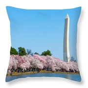 Washington Monument And Cherry Blossoms Throw Pillow