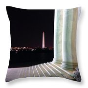 Washington Monument From Stairs Of Jefferson Throw Pillow