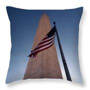Washington Monument Single Flag Throw Pillow