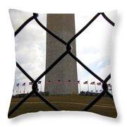 Washington Monument Through Fence Throw Pillow