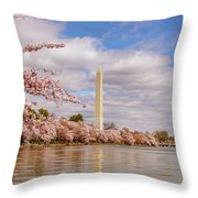 Washington Monument With Cherry Blossom Throw Pillow