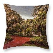 Washington Square In Mobile Alabama Painted Throw Pillow