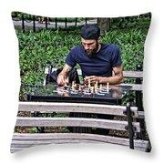 Washington Square Park Chess Man Throw Pillow