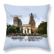 Washington Square Park Greenwich Village With Text New York City Throw Pillow