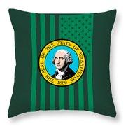 Washington State Flag Graphic Usa Styling Throw Pillow