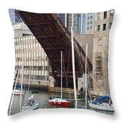 Washington Street Bridge Lift Chicago Throw Pillow