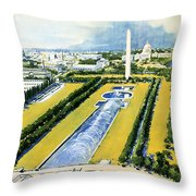 Washington Vintage Travel Poster Restored Throw Pillow
