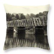 Washington's Crossing Bridge On A Rainy Day Throw Pillow