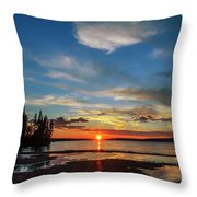 A Delightful Summer Sunset On Lake Waskesiu In Canada Throw Pillow