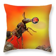 Wasp Blowing Bubble 160605d Throw Pillow