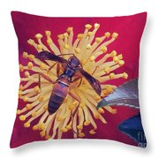 Wasp On Indian Hawthorn Throw Pillow