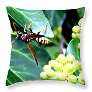 Wasp On The Ivy Throw Pillow