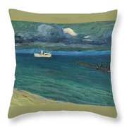 Wassily Kandinsky 1866 - 1944 Rapallo, Seascape With Steamer Throw Pillow