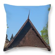 Wat Jed Yod Phra Ubosot Teakwood Gable Dthcm0968 Throw Pillow