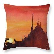 Wat Silhouette Throw Pillow