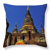 Wat Yai Chai Mongkol In Ayutthaya, Thailand Throw Pillow