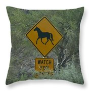 Watch For Horses Throw Pillow
