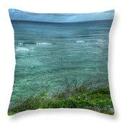 Watching From Afar Kuilei Cliffs Beach Park Surfing Hawaii Collection Art Throw Pillow