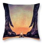 Watch Out Little Bunny Throw Pillow by Bob Orsillo