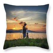 Watching Sunset With Daddy Throw Pillow