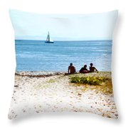 Watching The Boats Pass By Throw Pillow