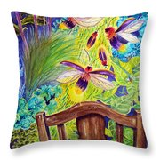 Watching The Bug Byway By Way Of Back Porch Throw Pillow