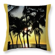 Watching The Hawaiian Sunset  Throw Pillow