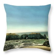 Watching The Rocks And Waves Throw Pillow