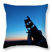 Watchnig The Sky, Astronomy Telescope Against Evening Sky And Moon Throw Pillow