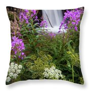Water And Flowers Throw Pillow
