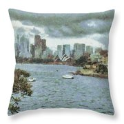 Water And Skyline Throw Pillow