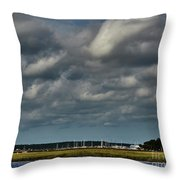 Water, Clouds And Sun. Throw Pillow