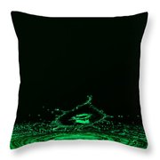 Water Collision Green Throw Pillow