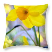 Water Color Daffodil Throw Pillow