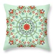 Water Color Garden Kaleidoscope Throw Pillow