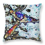 Water Color Koi Throw Pillow