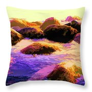 Water Color Like Rocks In Ocean At Sunset Throw Pillow