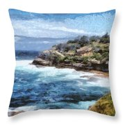 Water Cove With Rocky Cliffs Throw Pillow
