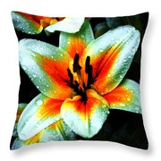 Water Droplet Covered White Lily  Throw Pillow