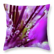 Water Droplets And Purple Flower Throw Pillow