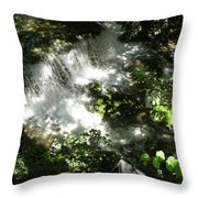 Water Fall In The Woods Throw Pillow