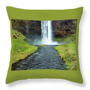 Water Falling In Iceland Throw Pillow