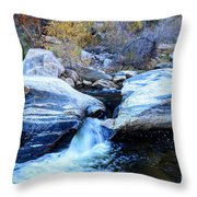 Water Flowing Through Rock Formation In Sabino Canyon II Throw Pillow