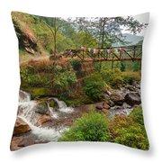 Water Flowing Through Rocks Kukhola Falls Sikkim Throw Pillow