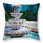 Water Fountain Acrylic Painting Art Print Throw Pillow