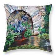 Water Fountain Throw Pillow by Milagros Palmieri