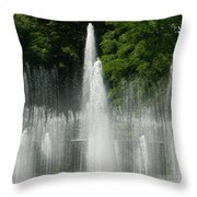 Water Fountain Show - Longwood Gardens In Pa Throw Pillow