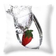 Water Glass Strawberry Throw Pillow